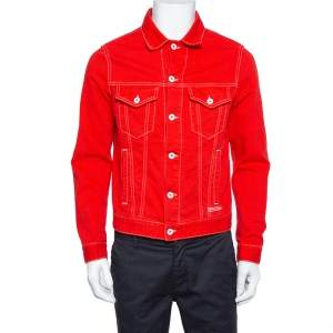 Off White Red Denim Graphic Print Button Front Jacket M