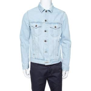 Off-White Light Blue Denim Toned Effect Layered Jacket L