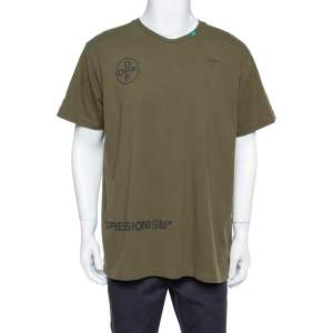 Off White Green Printed Cotton Oversized T Shirt XS