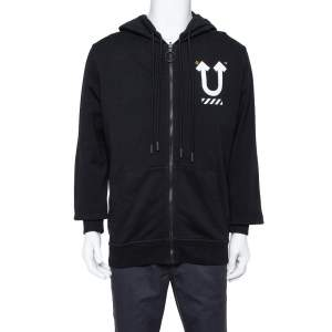Off-White X Undercover Black Logo Printed Cotton Hoodie M