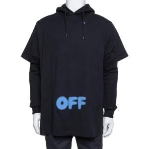 هودي أوف وايت مزين تي شيرت قطن مطبوع أوف باهت أسود مقاس صغير (سمول)