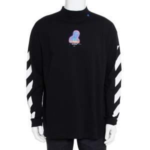 Off-White Black Cotton Diag Thermo Crewneck Sweatshirt S