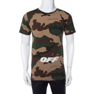 Off-White Camouflage Printed Cotton Logo Embroidered Crewneck T-Shirt XS