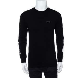Off-White Black Printed Cotton Long Sleeve Crewneck T-Shirt S