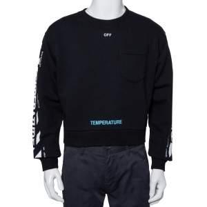 Off-White Black Cotton Temperature Logo Printed Oversized Crewneck Sweatshirt S