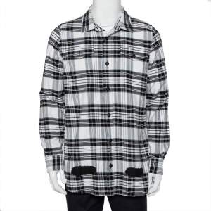 Off-White Monochrome Plaided Cotton Painted Detail Oversized Shirt S