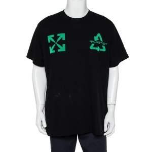 Off-White Black Cotton Universal Key Embroidered Crewneck Oversized T-Shirt S