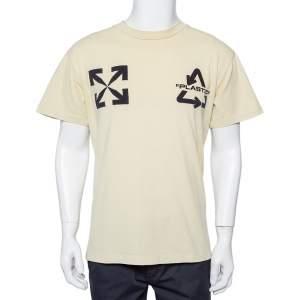 Off - White Cream Cotton Universal Key Embroidered Crewneck T-shirt XXS