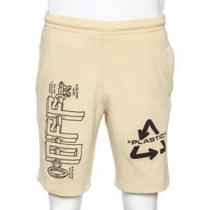 Off White Cream Cotton Universal Key Embroidered Bermuda Shorts S