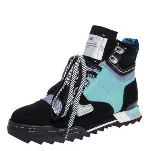 Off White Mulcitcolor Nubuck Leather and Fabric Hiking Lace Boots Size 42
