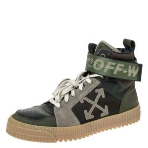 Off-White Green Leather And Fabric Off Court 3.0 High-Top Sneakers Size 40