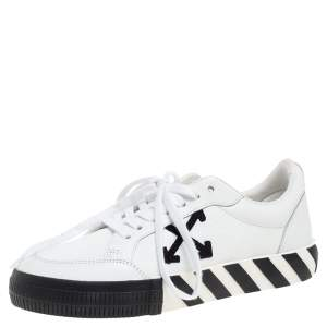 Off-White White/Black Leather Vulcanized Low Top Sneakers Size 40