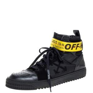 Off-White Black Leather/Fabric and Suede Industrial High Top Sneakers Size 45