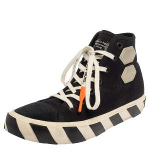 Off White Black Canvas And Suede Vulcanized High Top Sneakers Size 42