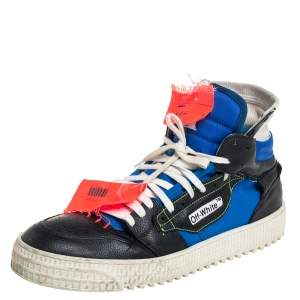 Off-White Black/Blue Leather And Canvas Off-Court 3.0 High-Top Sneakers Size 42