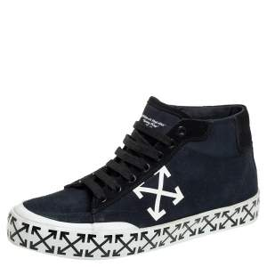 Off-White Blue/Black Canvas And Suede High Top Sneakers Size 40