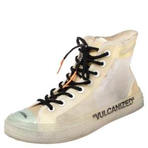 Off-White x Converse Beige Mesh And Rubber Chuck Taylor All-Star Vulcanized High Top Sneakers Size 41