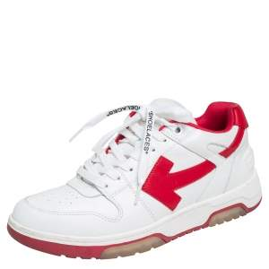 """Off White Red/White Leather """"Out Of Office"""" Low Top Sneakers Size 43"""