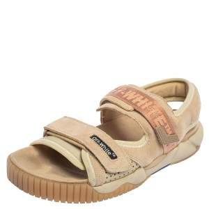 Off-White Beige Suede And Rubber Oddsy Minimal Velcro Sandals Size 43