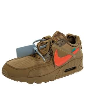 Off-White x Nike Brown Mesh And Suede Air Max 90 Desert Ore Sneakers Size 42.5