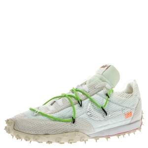 Off White x Nike White PVC Waffle Racer Low Top Sneakers Size 42