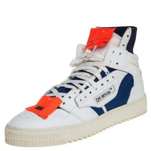 Off White White/Blue Leather And Canvas 3.0 Off-Court High Top Sneakers Size 43