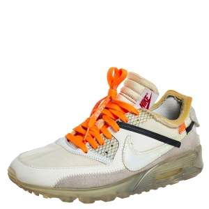 Off-White x Nike White Mesh And Leather The 10  Air Max 90 Sneakers Size 42.5