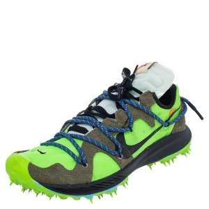 Off White x Nike Green/Brown Nylon And Suede Zoom Terra Kiger 5 Low Top Sneakers Size 40.5