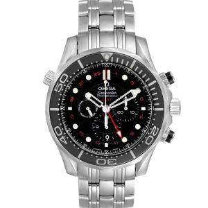 Omega Black Stainless Steel Seamaster Diver 300M Co-Axial GMT 212.30.44.52.01.001 Men's Wristwatch 44 MM