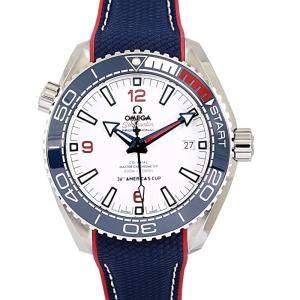 Omega White Stainless Steel Seamaster Planet Ocean Men's Wristwatch 43.5 MM