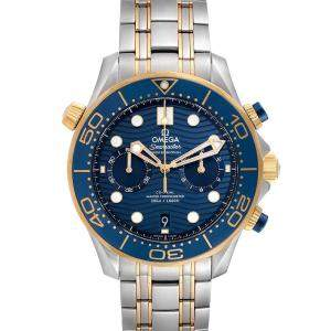 Omega Blue 18K Yellow Gold And Stainless Steel Seamaster Diver Master Chronometer 210.20.44.51.03.001 Men's Wristwatch 44 MM