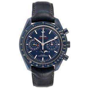 Omega Blue Ceramic Speedmaster Moonphase Chronograph 304.93.44.52.03.001 Men's Wristwatch 44 MM