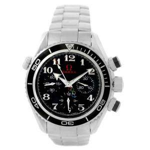 Omega Black Stainless Steel Seamaster Planet Ocean Olympic 222.30.38.50.01.003 Watch Men's Wristwatch 37.5 MM