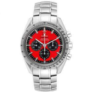 Omega Red and Stainless Steel Speedmaster Schumacher 3506 61 00 Men's Wristwatch 42MM