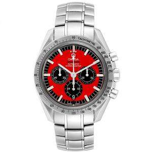 Omega Red/Black Stainless Steel Speedmaster Schumacher 3506.61.00 Men's Wristwatch 42 MM
