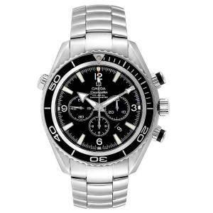 Omega Black Stainless Steel Seamaster Planet Ocean Chronograph 2210.50.00 Men's Wristwatch 45 MM