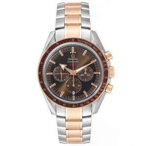 Omega Brown 18K Rose Gold And Stainless Steel Speedmaster Broad Arrow 1957 321.90.42.50.13.001 Men's Wristwatch 42 MM