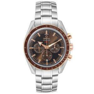 Omega Brown 18K Rose Gold And Stainless Steel Speedmaster Broad Arrow 1957 321.90.42.50.13.002 Men's Wristwatch 42 MM