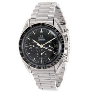 Omega Black Stainless Steel Speedmaster Moonwatch Tachymeter 145.022-69 Men's Wristwatch 42MM