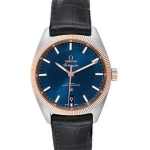 Omega Blue 18K Rose Gold And Stainless Steel Constellation Globemaster 130.23.39.21.03.001 Men's Wristwatch 39 MM