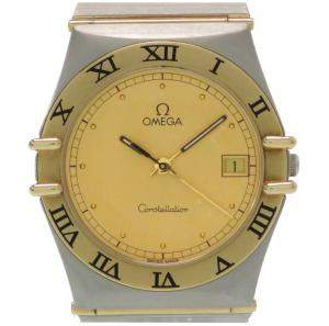 Omega Gold 18K Yellow Gold Stainless Steel Constellation Men's Wristwatch 32MM