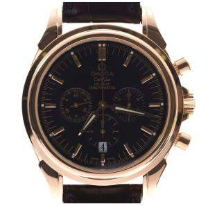 Omega Black 18K Yellow Gold and Leather De Ville 4641.50.31 Men's Wristwatch 41MM