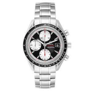 Omega Black/White Stainless Steel Speedmaster Date 3210.51.00 Card Men's Wristwatch 40 MM