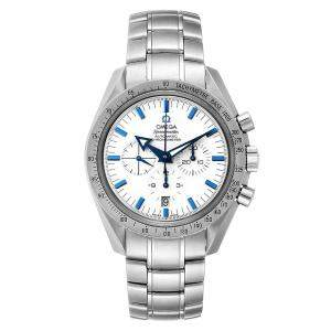 Omega White Stainless Steel Speedmaster Broad Arrow 1957 Chronograph 3551.20.00 Men's Wristwatch 42 MM