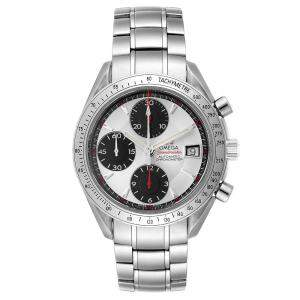 Omega Silver/Black Stainless Steel Speedmaster Date Chronograph 3211.31.00 Men's Wristwatch 40 MM