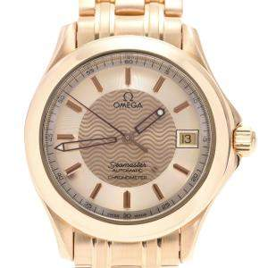 Omega Champagne 18K Yellow Gold Seamaster 120M 2101.11 Automatic Men's Wristwatch 36 MM