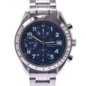 Omega Blue Stainless Steel Speedmaster 3513.82 Automatic Men's Wristwatch 37 MM