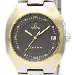 Omega Black 18K Yellow Gold And Stainless Steel Seamaster Polaris 396.1022 Men's Wristwatch 31 MM