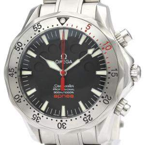 Omega Black Stainless Steel Seamaster Apnea Jacques Mayol 2595.50.00 Men's Wristwatch 42 MM