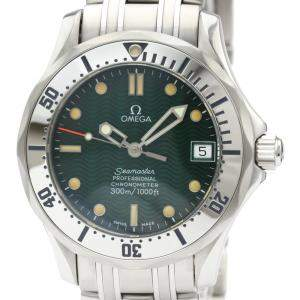 Omega Green Stainless Steel Seamaster Professional 300M Jacques Mayol 2553.41 Men's Wristwatch 36 MM